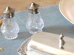 Clear Glass Silver Plate Salt and Pepper by LittleDixieVintage