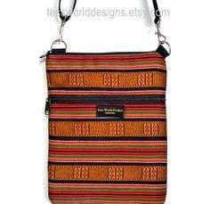 Ipad case ipad sleeve  ipad carrying bag woven African fabric Multicolored Gold green Cross Body  cross body purse adjustable strap.. $35.00, via Etsy.