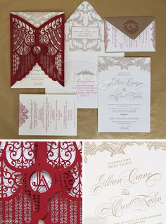 Luxury Wedding Invitations by Ceci New York - Our Muse - Luxurious Winter Wedding - Be inspired by Jillian and Alfred's luxurious winter wed. Wedding Invitation Kits, Laser Cut Wedding Invitations, Wedding Stationary, Invitation Design, Wedding Favors, Wedding Gifts, Wedding Ideas, Cards Ideas, Wedding Stationery Inspiration