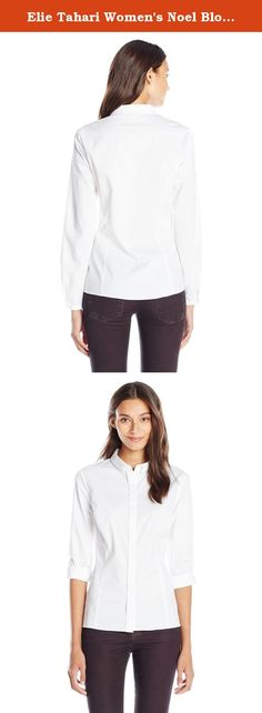 Elie Tahari Women's Noel Blouse, White, X-Small. Achieve effortless elegance in this stretch cotton poplin shirt detailed with roll-tab sleeves and smartly tailored front seems for a flattering and feminine fit.