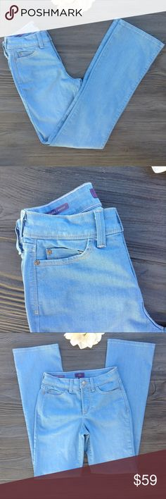 NYDJ Barbara bootcut light wash Palm Bay size 0 NWOT. Stlyle#MAIB1429 lift tuck technology. Palm Bay 70's inspired wash. This Jean has a bootcut silhouette. Rise 9in. Length 32in. Waist 13 in. Across. Bottom of leg opening 8 in. Across. 70% cotton 21% polyester 7% viscose 2% Elastane.                                                   #A27 NYDJ Jeans Boot Cut