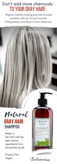 Sulfate-free Nutritive Brightening Shampoo for Gray and Silver Hair. This gray hair shampoo gently removes the yellowing buildup residue from your hair to reveal radiant healthy fuller hair that is more manageable and softer. Shampoo For Gray Hair, Curly Hair Styles, Natural Hair Styles, Great Hair, Hair Highlights, Hair Hacks, Healthy Hair, New Hair, Hair Care