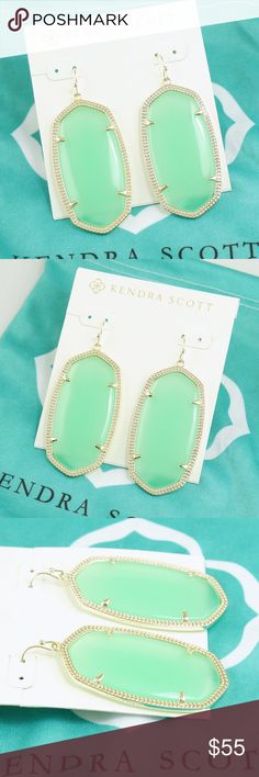 """Kendra Scott Danielle earrings chalcedony green NWOT Kendra Scott Danielle earrings    ● Chalcedony Mint light green color   ● 2 1/4"""" drop; 1 1/8"""" width   ● Gold tone with French wire  Brand new with earrings card, no pouch and gift box.  Please check my store for other color and styles!! Kendra Scott Jewelry Earrings"""