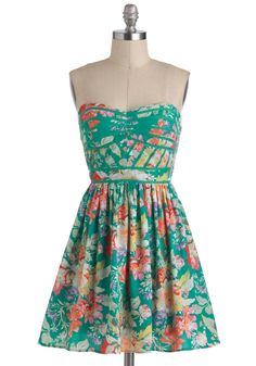 Lush with Beauty Dress - Green, Multi, Floral, Casual, Daytime Party, A-line, Strapless, Spaghetti Straps, Spring, Sweetheart, Beach/Resort