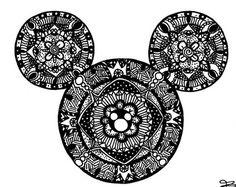 Impresión del arte de Mandala de ratón de Mickey, Zentangle, Doodle, Walt Disney, Disneyland, arte infantil, arte infantil, decoración de la habitación, Fan Art, patrón, diseño