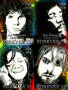 """Fake """"Forever postage stamps: Jim Morrison, Jimi Hendrix, Janis Joplin, and Kurt Cobain all died at the age of 27 Kinds Of Music, Music Is Life, Jimi Hendricks, Eagle Art, Vintage Classics, Hippie Art, Janis Joplin, Rock Legends, Jim Morrison"""