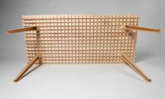 Wooden table by Ruben Beckers weighs just kilograms. The lengths of wood slot together at five-centimetre intervals to create the lattice, which is 28 millimetres deep. Table is x x 32 wood strips for support). Ikea Furniture, Furniture Design, Furniture Plans, Outdoor Furniture, Torsion Box, Wood Slats, Diy Wood Projects, Wooden Tables, Wood Design