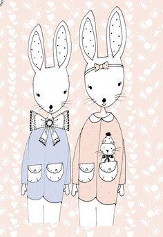 Boy + Girl Bunnies | Merel Boers (Miss Blackbirdy).