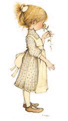 The Art of Holly Hobbie - Rose. Heather's Characteristics: Usually seen in a off-white pinafore with beige flowery dress.