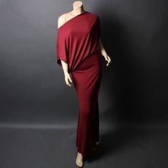 Casual Burgundy Red Off Shoulder Boat Neck Long Maxi Full Length Dress