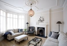Traditional living room with a concealed television Living Room Chairs, Cosy Living Room, Rh Living Room, Sitting Room Lights, New Living Room, Victorian Living Room, Dining Room Victorian, Light Fittings Living Room, Livingroom Layout