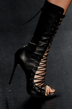 Tufi Duek lace up black leather open toe calf high heel sandals