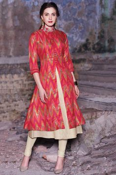 Samyakk Red Silk Printed Anarkali Kurti