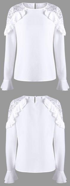Blouses & Shirts For Women - Cute Lace White Blouses & Funny Plaid Shirts Fashion Sale Online Blouse And Skirt, Work Blouse, Casual Outfits, Cute Outfits, Fashion Outfits, White Lace Blouse, Bell Sleeve Blouse, Fashion Sale, White Fashion