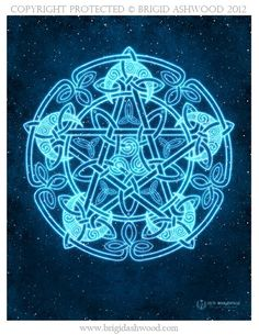 Celtic Moon Pentacle - Pagan Wiccan Print -