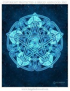 Celtic Moon Pentacle - Pagan Wiccan Print - Brigid Ashwood. $15.00, via Etsy.