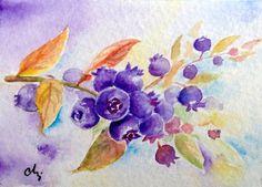 Original Signed ACEO miniature watercolour Painting blue berries british summer berries soft fruit    Corner Croft Etsy