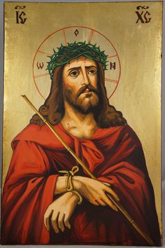 High quality hand-painted Orthodox icon of Jesus Christ Crown of Thorns. BlessedMart offers Religious icons in old Byzantine, Greek, Russian and Catholic style. Religious Images, Religious Icons, Religious Art, Christianity In Japan, Jesus Crown, Crown Images, Church Icon, King Crown Tattoo, Paint Icon