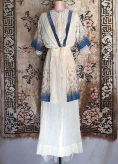 1910s Reception Gown Floral Print Silk Chiffon Net Gauze Porcelain Buttons Tiers | eBay