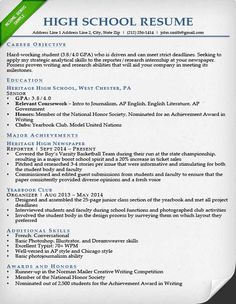 High School Resume Sample  High School Resume For College