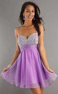 Cute Lavendar Spaghetti Strap Ruched Chiffon Open Back Homecoming /Cocktail / Sweet 16 /Short Prom Dress C1001047