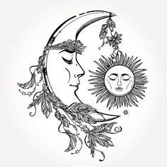 Crescent Moon and Sleeping Sun. Vector. vector art illustration