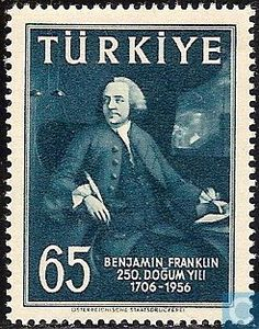 1957 Turkey - 250th birthday Benjamin Franklin