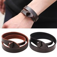 Linnor New Fashion Genuine Leather Bracelet for Women Simple Braclet Black PU Leather Accessories Braslet