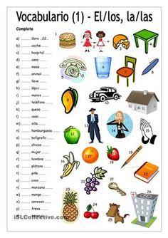 Vocabulario 1 - Complete con EL/LOS/LA/LAS trabajos - Hojas de trabajo de ELE gratuitas