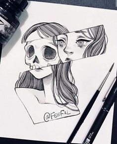 Trendy Ideas For Doodle Art Design Black Easy Pencil Drawings, Pencil Drawing Images, Dark Art Drawings, Random Drawings, Drawings Of Snakes, Girl Pencil Drawing, Drawings Of Love, Drawings Of Girls, Boy And Girl Drawing