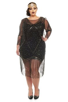 Plus size Betty Black Fringe Dress with Sleeves Slip included inspired Flapper Gatsby Charleston Bridesmaid Wedding Art Deco 1920s Party Dresses, Gatsby Dress Diy, Plus Size Flapper Dress, Vestidos Flapper, London Outfit, Vintage Inspired Dresses, Dress Vintage, Fringe Dress, Halloween Disfraces