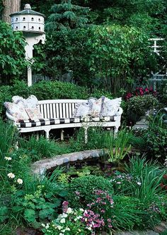 birdhous, wooden benches, secret gardens, water gardens, yard, garden benches, sitting areas, pond, garden seating