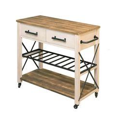 Gracie Oaks Zarmig Aurora Kitchen Cart | Wayfair - LOVE the warmth of the wood top and bottom shelf, like the drawers, but the side handle would make it hard to line up 2 of them. Kitchen Shop, Kitchen Cart, Kitchen Goods, Kitchen Ideas, Dining Room Chairs, Dining Room Furniture, White Farmhouse Kitchens, Dining Buffet, Home Building Design