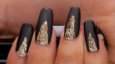 | Easy Sophisticated Black and Gold Nails Tutorial | Nail Designs