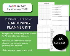 Printable A5 Filofax Garden Planner - Gardening Planner Kit for Filofax and Kikki K planners by PapierMyDay on Etsy
