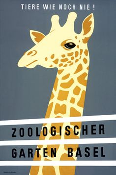 Vintage Zoo Giraffe 1940s Posters and Prints