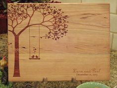 Personalized Cutting Board Birds On Swing Lasered Engraved Wedding Present…