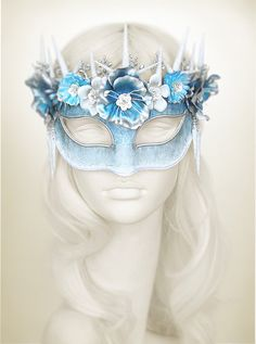 Blue Silver & White Masquerade Mask With Various by SOFFITTA