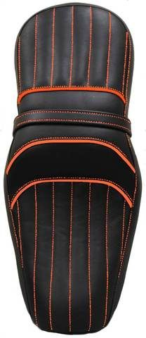 La Rosa Harley Davidson Sportster /Nightster/ Iron Two up Synthetic Leather Seat - Black with Orange Stitched Tuk N Roll Motorcycle Icon, Motorcycle Outfit, Harley Davidson Parts, Harley Davidson Sportster, Forty Eight, Iron 883, Leather Saddle Bags, Custom Harleys, Rear Seat