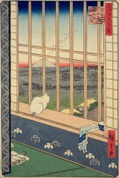 La finestra di oggi arriva dall'oriente Utagawa Hiroshige (1797-1858), Un gatto sul sedile della finestra, 1857