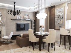 Кухня-гостиная в стиле фьюжн, современная классика