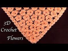 How To Crochet Flower Stitch For Scarfs - Crochet Ideas Crochet Hammock, Crochet Tunic, Crochet Scarves, Crochet Motif, Crochet Patterns, Lace Flowers, Crochet Flowers, Different Crochet Stitches, Crochet Videos