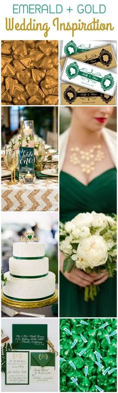 Fall / Winter Wedding Inspiration: Use Emerald and Gold for a unique color combination