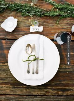 So neat - could consider using rosemary as a garland for wooden tables