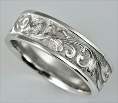 Men's Rings by Tom Mathis: White Gold Ring with Hand Engraved Gun Scroll. [MR1201]