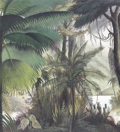 Panoramic wallpaper Sources of the Orinoco color Palm Leaf Wallpaper, Scenic Wallpaper, Tropical Wallpaper, Wallpaper Decor, Pattern Wallpaper, Tropical Design, Tropical Art, Wall Murals, Wall Art
