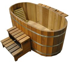 This cedar Japanese soaking tub would be the perfect way to cool down after a steam.