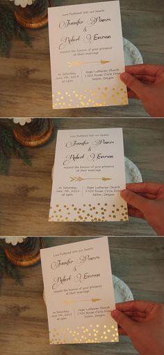 cupid's arrow polka dot foil pressed wedding invitations EWFI002