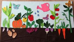 felt board garden - above and below ground veggies with leaves, stems, vines… Flannel Board Stories, Felt Board Stories, Felt Stories, Decoration Creche, Vegetable Crafts, Vegetable Garden, Art For Kids, Crafts For Kids, Theme Nature