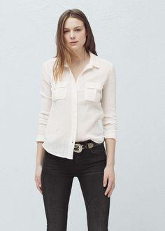 Camisa algodón bolsillos - Camisas de Mujer | OUTLET España